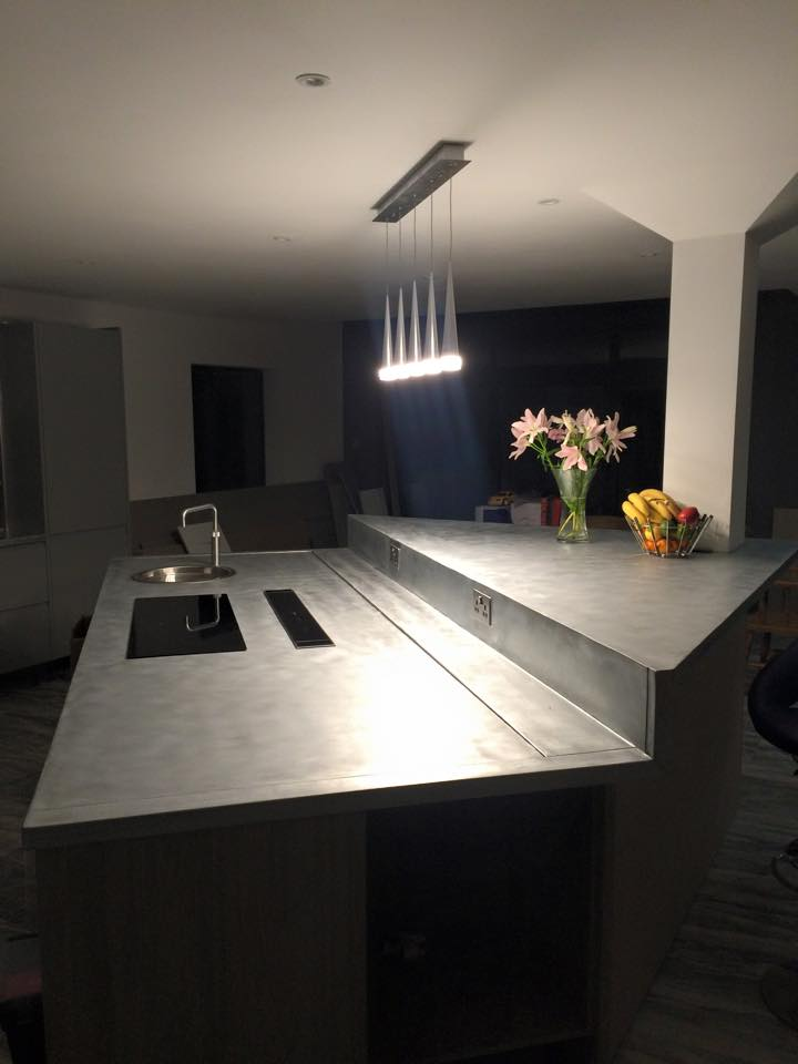 Zinc worktops and bars in London and the South East